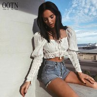 OOTN Tassel Tie Bohemia Female Hollow Out Women Shirt Embroidery Ruffle Blouse 2020 Summer Sexy White Tops Puff Sleeve Crop Top