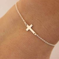Bracelet Women Zinc Alloy Charm Exquisitely Tiny Cross Bracelet Fashion Gold Silvery Women Simplicity Bracelet