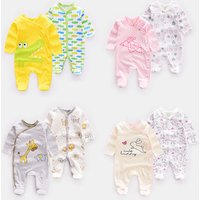 Factory wholesale  NEW born baby boy jumpsuit 2 pcs packs  cartoon baby clothing cotton series climbing suit  in stock