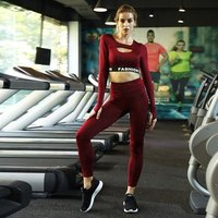 Word FASHION Red Black Long Sleeve Crop Top Yoga Fitness Sets Leggings Jump Suit Unbranded Tracksuit Gym Wear