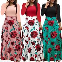 2019  Wholesale Women Fashion Long Sleeve Floral Printed Maxi Dress Simple Long Dress