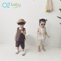 Q2-baby Unisex Toddler Boys Girls Summer 2 Piece Clothing Cotton Linen Baby Clothes Sets