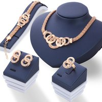 Artilady Rose Gold Crystal Necklace Earring Bracelet Ring Set Rhinestone New Simple Party Dress Jewelry Sets For Women