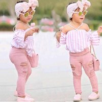 Baby Childrens Suit Summer New Girls One Shoulder pink strip Shirt + Jeans + headband 3pcs Kids Wear Baby Clothes