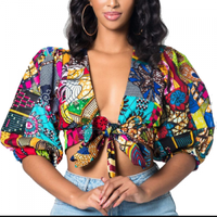 wholesale womens short sleeve blouses printed shivering crop top sexy