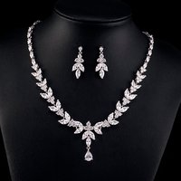 RAKOL Silver /18K Gold Bridal Wedding Cubic Zirconia CZ Jewelry Set Crystal Zircon Leaf Flower Necklace Earrings Set S180