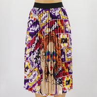New Coming Printing Pattern Empire High Elastic Women Party High Street Pleated Skirt