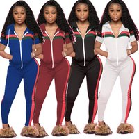 SALM9060 summer sportswear striped short sleeve hooded jacket and stretch pants two piece set plus size women track suit