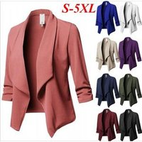 Ecowalson Womens Stretch 3/4 Gathered Sleeve Open Blazer Plus Size Jacket Lapel Casual Small Suit Slim Work Wear