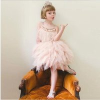 New trendy kids frock design girls dress ball gown feather performance clothes formal princess evening dress