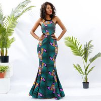 African Traditional Dresses And Skirts Women Bodycon Backless Evening Gown  Wax Print African Clothing 2019