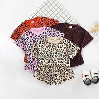 2019 Girls summer suit new childrens short sleeve shorts casual clothes baby foreign air leopard two-piece outfits