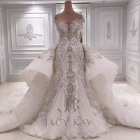 L9412 Luxury Wedding Dresses Off Shoulder Dubai Beaded Crystal Lace Bridal Ball Gown Sweetheart Dismountable Train Bridal Dress