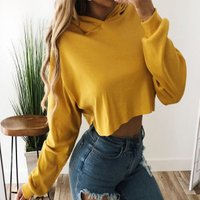 Manufacturer High Quality Wholesale Drawstrings Cotton Polyester Plain Womens Crop Top Hoodies
