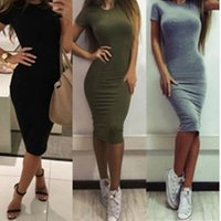 One piece dress for women sexy Slim bodycon short sleeve dress women Tunic Crew Neck Casual pencil dress
