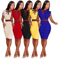 Fashion round neck solid ruffle design sleeveless ladies bodycon elegant knee length pencil dress