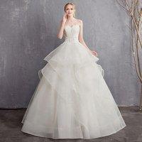 Custom Robbons Lace Bridal Gown Sweet Flower Wedding Dress