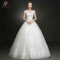 2019 New Style O-Neck Short Sleeve White Crystal Boat Neck Unique Handmade Embroidery Bridal Gown Vestido De Novia