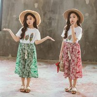 Summer Girls Sets Baby Girl Short Sleeve Shirt Top+Wide Leg Pants Suits Kids Clothing Printed Childrens Clothes 2PCS