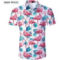 Wholesale Summer Beach Short Sleeve Mens Beauty Print Flamingo Hawaiian Shirt For Men