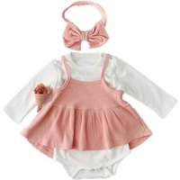 Baby Girl Clothes 3pcs Clothing Sets pink Cotton Rompers Golden Ruffle vest  Headband new born baby clothes sets