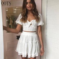 OOTN Casual Summer Puff Sleeve Blouse Two Piece Set Suit Chiffon White Crop Top High Waist Ruffle Skirt Female 2 Piece Set Women