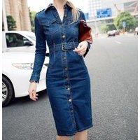 2019 autumn single-breasted belt slim fit hip denim casual dress LYQ3348