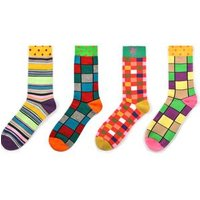 customs logo fashion colorful happy man dress crew cotton socks wholesale