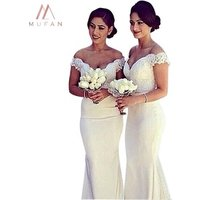 Hot Sale Long Skirt V Neck Sexy Backless White Lace Bridesmaid Dresses Mermaid Wedding Prom Dress For Special Occasion