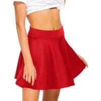 Women Skirts Basic Versatile Stretchy Flared Pleated Knitted Casual Mini Skater Skirt