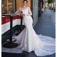 2019 lace Wedding Dresses beading mermaid Backless asa Wedding Gowns Sexy  Bridal Gowns Long Sleeve Bridal  wedding dresses  L02