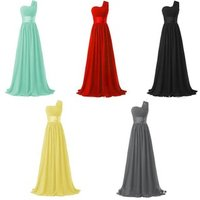 Womens One Shoulder Chiffon Long Evening Dress Floor Length Trailing Bridesmaid Dress