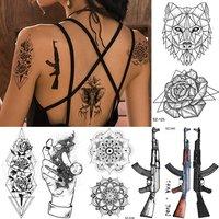 'Coktak Wholesale Custom Tempporary Tattoo Sticker For Men Women Fake Flower 10.5x6cm Waterproof Wolf Rose Body Art Tattoos Paper
