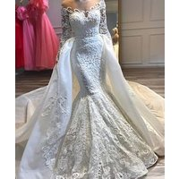African Mermaid Wedding Dresses With Detachable Train Jewel Neck Lace Appliqued Bridal Gowns Long Sleeves Wedding Dresses 2019