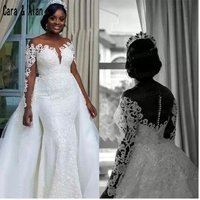 ZH1129B White Lace Applique Plus Size Wedding Dresses elegant Princess Ball Gown back Bridal Gowns
