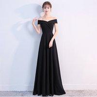 1328# sleeveless all black slim fit v neck elegant formal evening dress