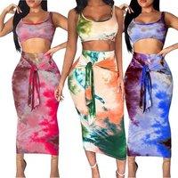 New Design Two Piece High Waist Printed Hot Night Women Clothing Dress Sexy 2019