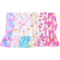 Wholesale girl pants flare toddler trousers milk silk yiying infant pant fresh color printed baby legging