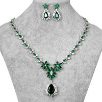 Blue / Green / Red / Clear Cubic Zirconia Bridal Wedding Jewelry Necklace and Earring Set for Bride or Bridesmaid