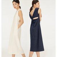 100% linen open back summer sexy women party dress