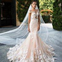 2019 Mermaid Wedding Dresses Sheer Neck Lace asa beading Appliques Illusion Bodices Bridal Gowns Wedding Gowns Vestido de noiva