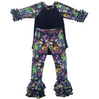 New Design Kids Halloween Icing Shirts And Ruffle Pants 2Pcs Clothing Sets Baby Girl Boutique Clothing Outfits