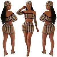 women sexy plaid crop top and mini skirt two piece set SYA8280