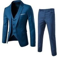 Latest styles Luxury cashmere wool One  buttons blue coat pant man suit