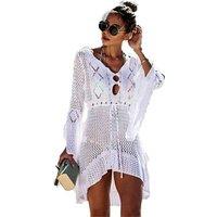Crochet 10 colors Horn Sleeve Mesh Bikini Cover up Beach dress for Vacation