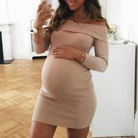 Ecowalson Autumn and Winter Womens Fashion Long Sleeve Off Shoulder Knitted Sweater Maternity Dress