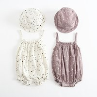 Baby Summer Clothing Set Infant Linen Cotton Stars Tank Romper and Cap Outfit Set Toddler Girls Flax Sitter Romper Pink White