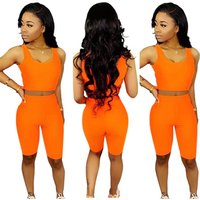 2019 hot selling PA6161 women orange solid shorts and crop top two piece set