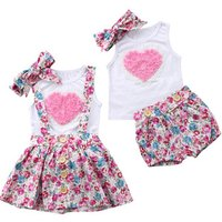 Girls clothing set vintage floral shorts matching floral skirt set pink rose love heart baby clothing set with headband