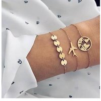 Bohemian style aircraft map charm bracelet 3pc/set female multi-layer gold chain bracelet jewelry